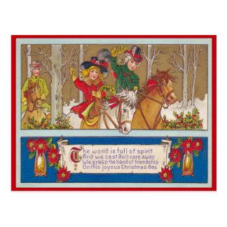 Cartão Postal Natal vintage, passeio de A na floresta