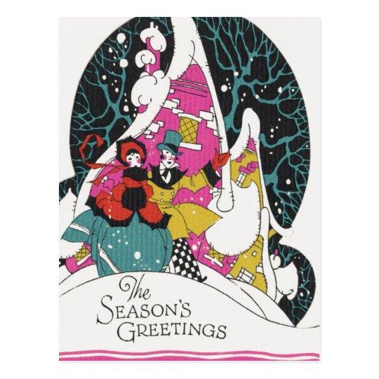 Cartão Postal Natal vintage, pessoas de cidade extravagantes do