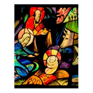 Cartão Postal Natividade do estilo do vitral