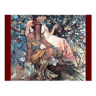 Cartão Postal Nativo americano do homem da mulher da arte de