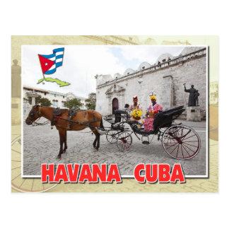 Cartão Postal Nativos no traje na carruagem, Havana, Cuba