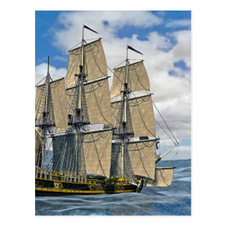 Cartão Postal Navigação preta do navio de Corveta em um dia
