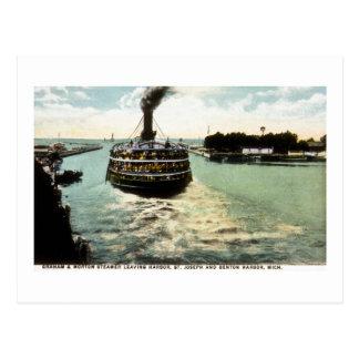 Cartão Postal Navio a vapor de Graham & de Morton (linha de G&M)