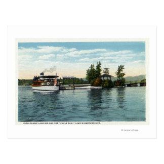Cartão Postal Navio a vapor do tio Sam na aterragem da ilha do