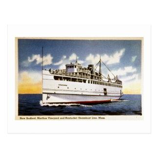 Cartão Postal Navio a vapor Naushon, linha do barco a vapor de