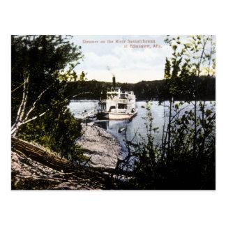 Cartão Postal Navio a vapor no rio Saskatchewan, Edmonton, Alta