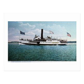 Cartão Postal Navio a vapor Ticonderoga no lago Champlain