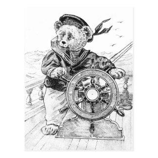 Cartão Postal Navio da direcção de Sam do urso do marinheiro no