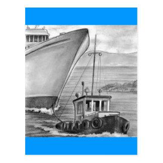 Cartão Postal Navio de cruzeiros do reboque do barco do reboque
