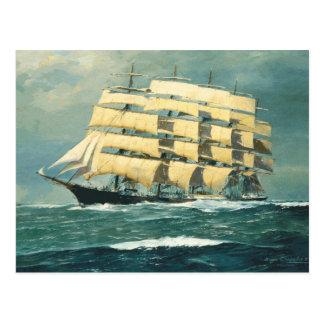 Cartão Postal Navio de navigação Preussen no mar