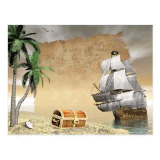 Cartão Postal Navio de pirata que descobre um tesouro