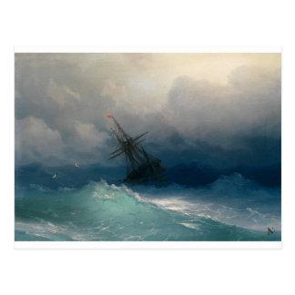 Cartão Postal Navio em mares tormentosos, Ivan Aivazovsky