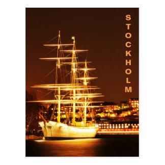 Cartão Postal Navio na noite em Éstocolmo, suecia