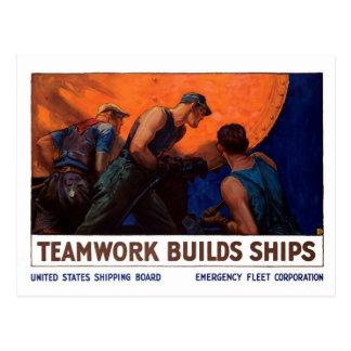 Cartão Postal Navios das construções dos trabalhos em equipe