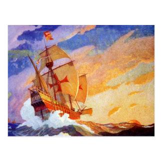 Cartão Postal Navios de Cristóvão Colombo no vintage do mar