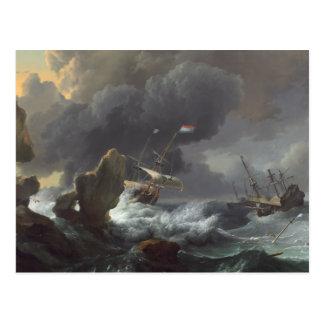Cartão Postal Navios na aflição fora de uma costa rochosa