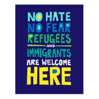 Cartão Postal Nenhum ódio nenhuns refugiados & imigrantes do