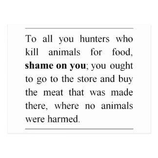 Cartão Postal Nenhuns animais prejudicados no contador de carne