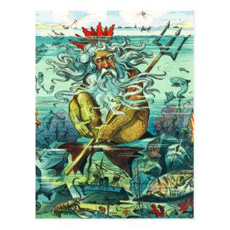 Cartão Postal Netuno que senta-se entre destruições afundado