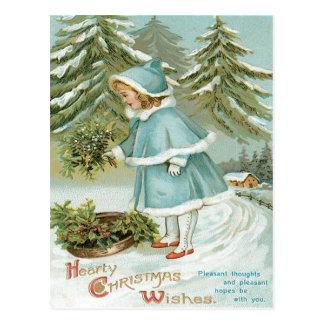 Cartão Postal Neve bonito do azevinho da colheita da menina