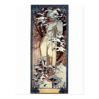 Cartão Postal neve da mulher do poster do nouveau da arte do