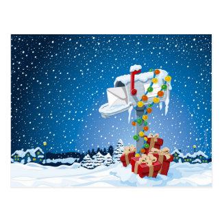 Cartão Postal Neve das caixas de presente da caixa postal do