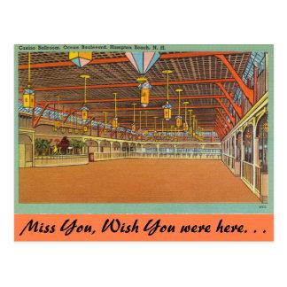 Cartão Postal New Hampshire, salão de baile do casino, praia de