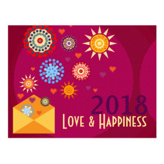Cartão Postal New Year Happiness greeting postcards