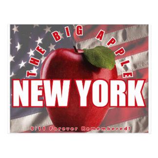 Cartão Postal New York Apple vermelho - 9/11 recordado para