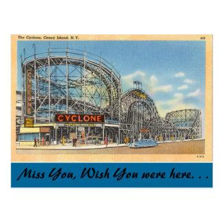 Cartão Postal New York, ciclone, Coney Island
