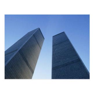 Cartão Postal New York, EUA. Vista acima em torres gémeas do