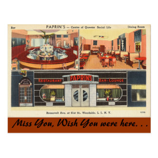 Cartão Postal New York, sala de estar do bar do restaurante de
