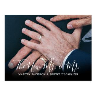 Cartão Postal Newlyweds alegres Sr. e Sr. Foto Agradecimento