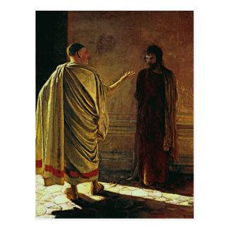 Cartão Postal Nikolai GE o que é verdade. Cristo e Pilate