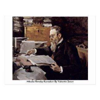Cartão Postal Nikolai Rimsky-Korsakov por Valentin Serov