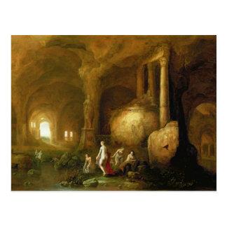 Cartão Postal Ninfas que banham-se por ruínas clássicas