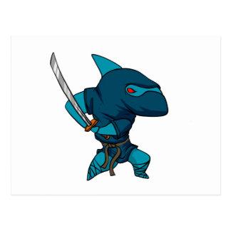 Cartão Postal Ninja do tubarão