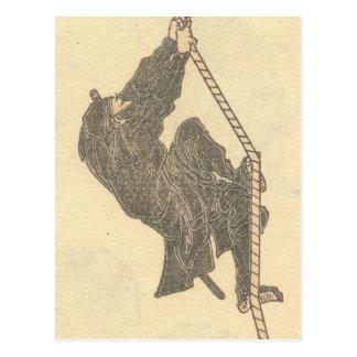 Cartão Postal Ninja que escala uma corda cerca dos 1800s Japão