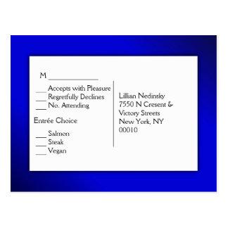 Cartão Postal Nivelando RSVP azul com escolhas da entrada