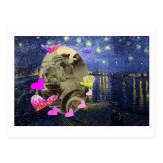 Cartão Postal No amor (noite estrelado)