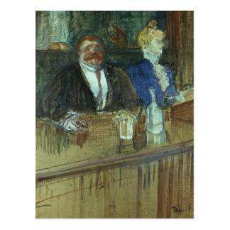Cartão Postal No bar: O proprietário gordo
