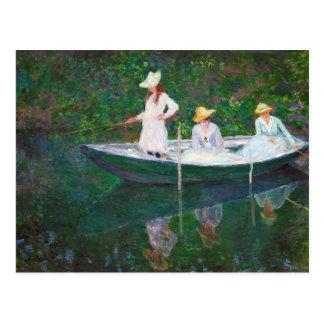 Cartão Postal No barco norueguês em Giverny Claude Monet