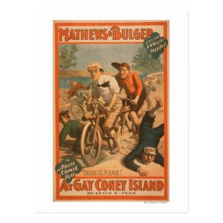 """Cartão Postal """"No poster #1 da comédia musical de Coney Island"""