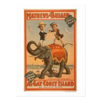 """Cartão Postal """"No poster #3 da comédia musical de Coney Island"""