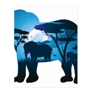 Cartão Postal Noite africana com elefante 6