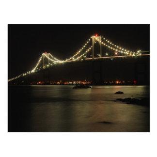 Cartão Postal Noite da baía de Narragansett da ponte de Newport