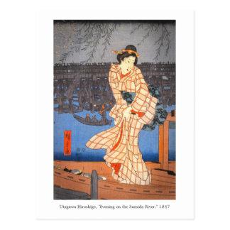 Cartão Postal Noite de Hiroshige na arte do japonês do rio de