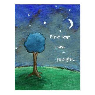 Cartão Postal Noite estrelado, a árvore abstrata da paisagem