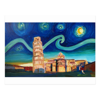 Cartão Postal Noite estrelado em Pisa com torre inclinada