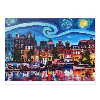 Cartão Postal Noite estrelado sobre o canal de Amsterdão